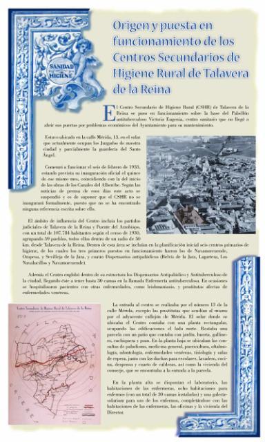 Exposición conmemorativa del 75 aniversario del Centro Secundario de Higiene Rural de Talavera de la Reina (1933-2008). Panel informativo 02.