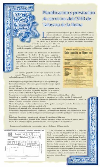 Exposición conmemorativa del 75 aniversario del Centro Secundario de Higiene Rural de Talavera de la Reina (1933-2008). Panel informativo 03.