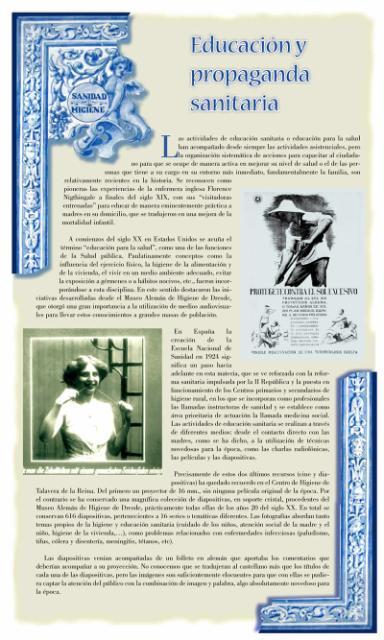Exposición conmemorativa del 75 aniversario del Centro Secundario de Higiene Rural de Talavera de la Reina (1933-2008). Panel informativo 10.
