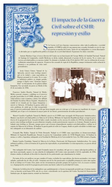 Exposición conmemorativa del 75 aniversario del Centro Secundario de Higiene Rural de Talavera de la Reina (1933-2008). Panel informativo 13.